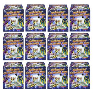 12 x Superhero Colouring Mugs - Colour Your Own Arts & Crafts - Wholesale Bulk Buy